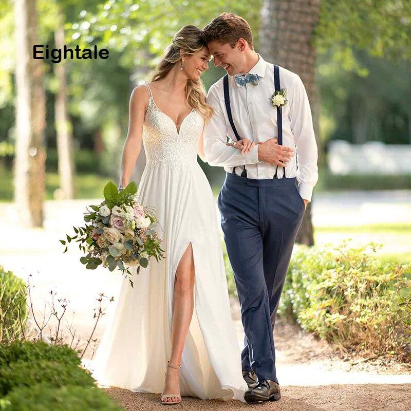 Eightale Beach Wedding Dress 2019 Spaghetti Strap A Line Side Split Tulle Appliques Backless Lace Wedding