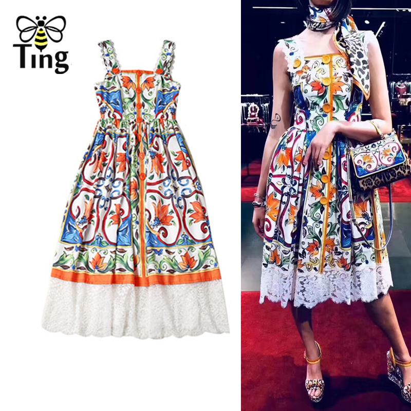 Tingfly Designer Runway Dress High Quality New Summer Women Strap Floral Printed Button and Lace Patchwork Dress Party Dresses
