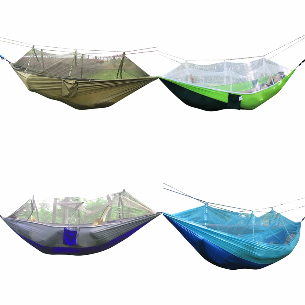1-2 Person Outdoor Mosquito Net Parachute Hammock Camping Hanging Sleeping Bed Swing Portable Double Chair Army Green