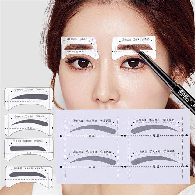 8 Pairs DIY Make Up Tools Grooming Shaping Bend Eyebrow Template Stickers 1