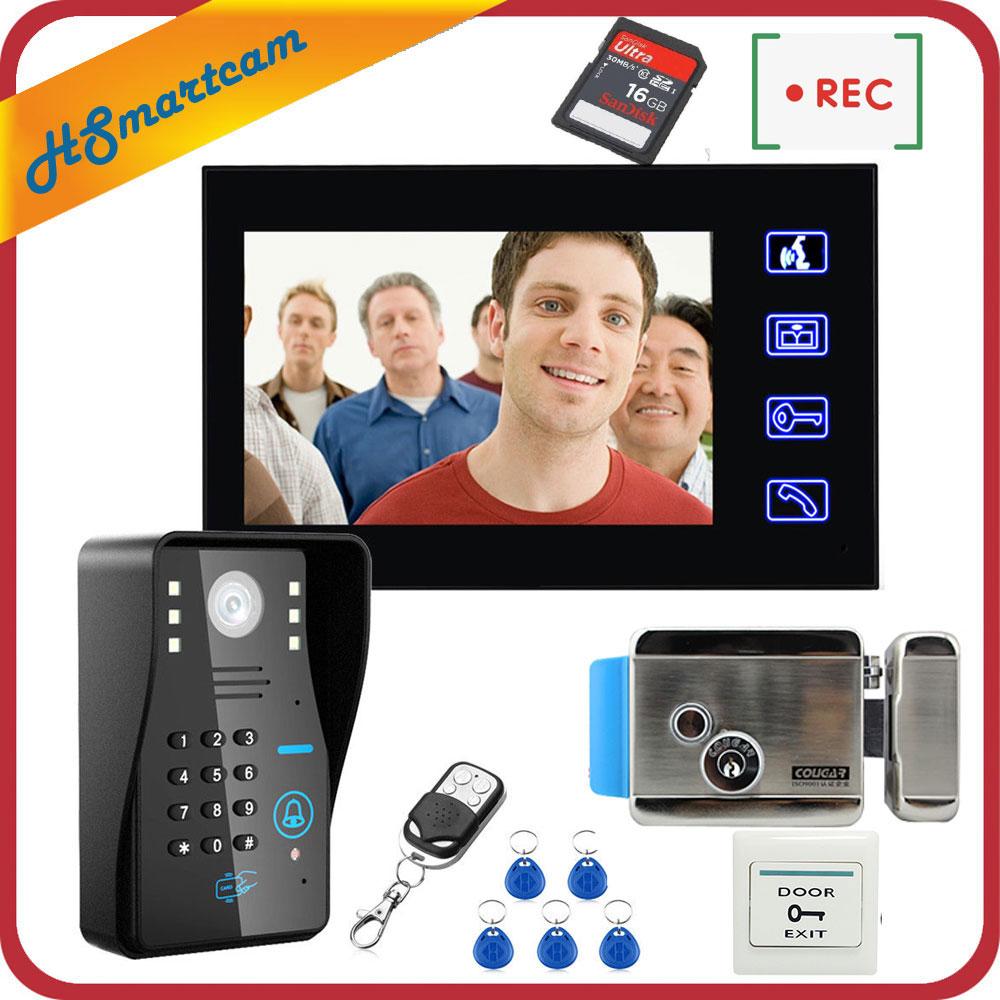 7 Inch Color Touch Screen RFID Password Video Door Phone Intercom System+Electric Strike Lock+Wireless Unlock 16GB Video Recor