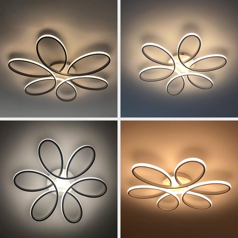 Plafond moderne à LEDs lumières télécommande pour salon chambre 78W 72W 90W 120W aluminium boby intérieur plafond lampe encastré - 4