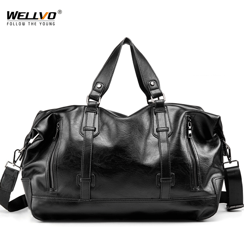 Waterproof Large Capacity PU Leather Men Travel Duffle Bag Luggage Handle Bag Men s Shoulder Handbags