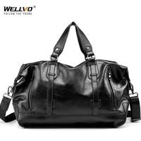 Waterproof Large Capacity PU Leather Men Travel Duffle Bag Luggage Handle Bag Men's Shoulder Handbags Women Crossbody Bag XA78WC