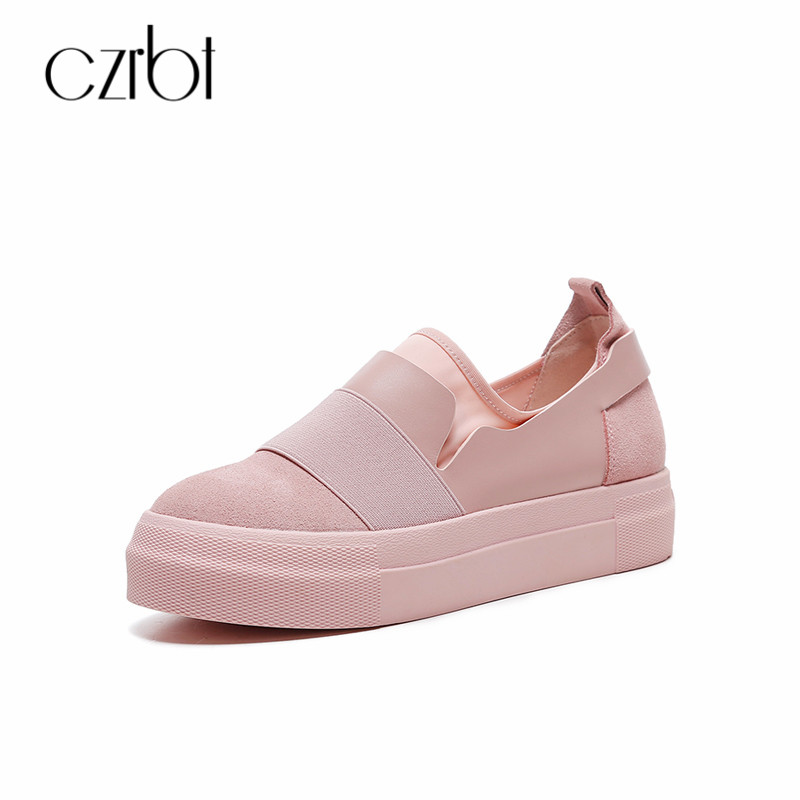 CZRBT Women Spring Autumn Flat Shoes Casual Loafers Genuine Leather Slip-On Shoes Plus Size Platform Fashion Ladies Flats morazora spring autumn genuine leather flat shoes woman round toe platform fashion casual slip on women flats gold
