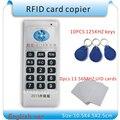 Inglés versión Duplicadora RFID de Mano 125 Khz-13.56 MHZ de frecuencia 5/Escritor + 10 unids 125 KHZ Copiadora tarjetas 10 unids 13.56 MHZ IC (UID) tarjeta