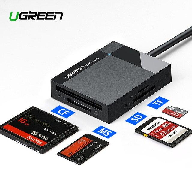 Ugreen кардридер USB 3,0 все в одном SD/Micro SD/TF/CF/MS Compact Flash смарт-карта памяти Адаптер Тип C OTG SD кардридер