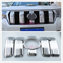 Accessories For Toyota Land Cruiser 150 Prado LC150 FJ150 2018 Front Grille Bumper Garnish  Trims Camera Hole Chrome Car-Styling