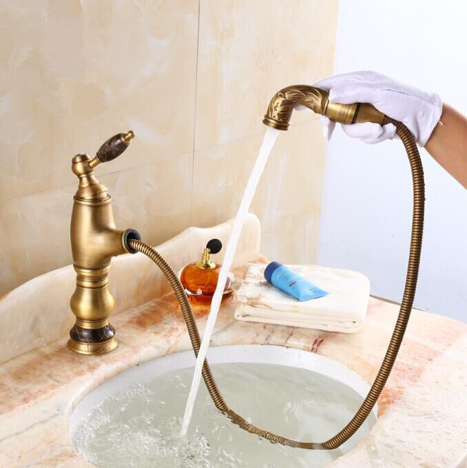 цены New deck mounted Jade Antique brass water faucet Bathroom Basin faucet Mixer Tap Luxury Sink Faucet Pull Out Shower