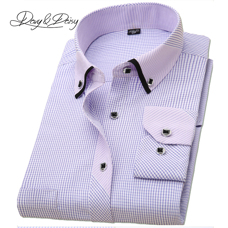 DAVYDAISY Long Sleeved Plaid Casual Dress Shirts Men
