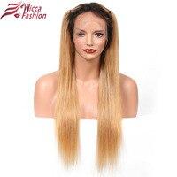 Rêve beauté ombre cheveux brésiliens avant de lacet perruque 1b/27 Non-Remy droite de Cheveux Humains Perruques Avec Bébé cheveux
