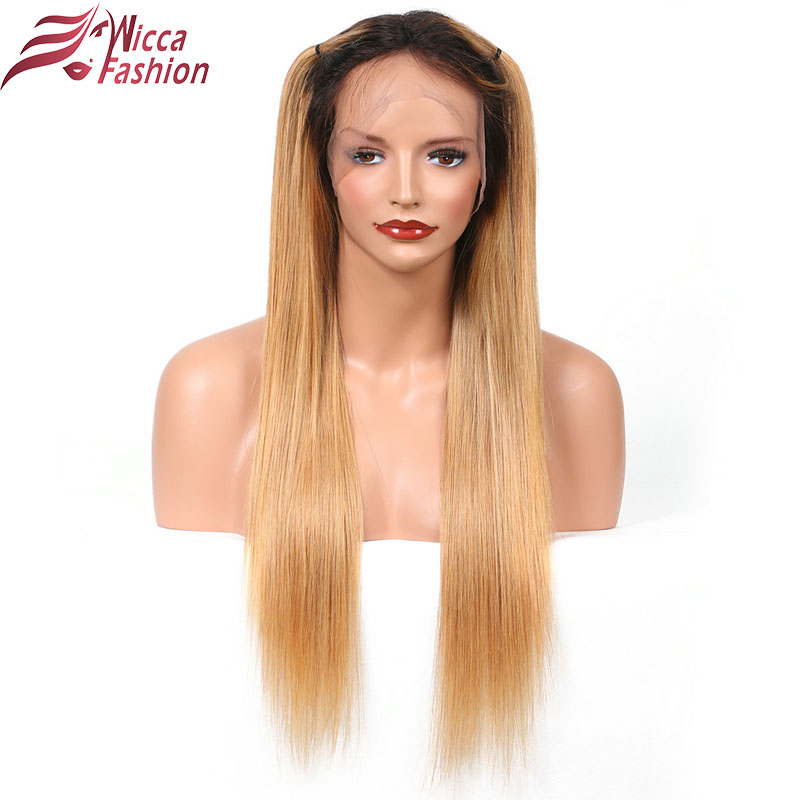 wicca moda ombre peluca brasileña del frente del cordón 1b / 27 - Cabello humano (negro)