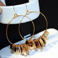 European Long Trend Delicate Gold Plated Color Preserving Hoop Earrings for Women 2016 New Jewelry