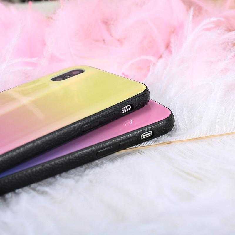 BONVAN For iPhone X 7 8 Plus Tempered Glass Back Case Gradient Color Laser Aurora Silicone Bumper For iPhone 7 6S 8 6 Plus Cover11