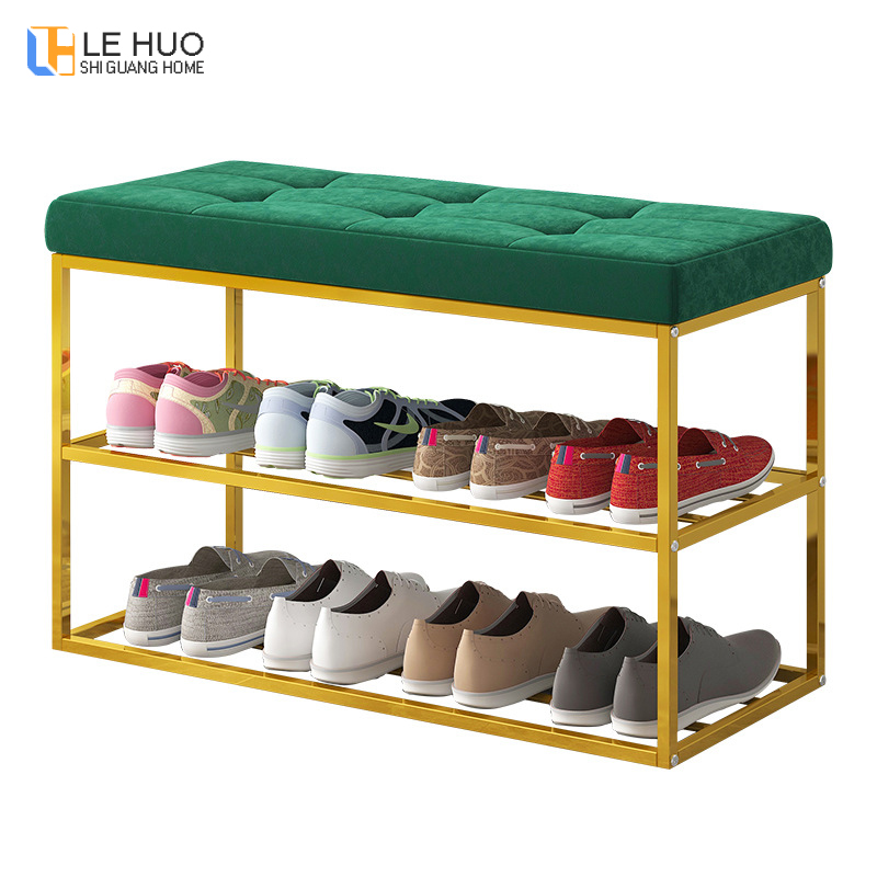 Steel Frame Entrance Shoe Bench With Velvet Cushion Living Room Shoe Cabinet Fashion Shoe Rack Dining Table Chair Furniture