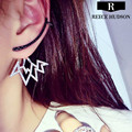 Hot New Fashion Luxury Contrasting Colors Rhinestone Lightning Ear Cuff Unique Design Clip Earrings For Women Free Shipping