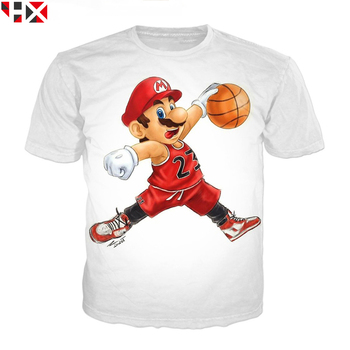 HX Fashion 3D Print T Shirt Funny Classic Cartoon Super Mario Unisex Summer Casual Tops H041 - discount item  32% OFF Tops & Tees