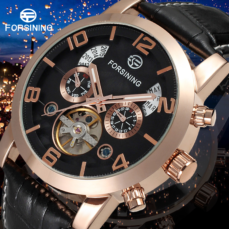 Men Automatic Watches Business Mechanical Watch with Black Genuine Leather Strap Gift Box unique smooth case pocket watch mechanical automatic watches with pendant chain necklace men women gift relogio de bolso