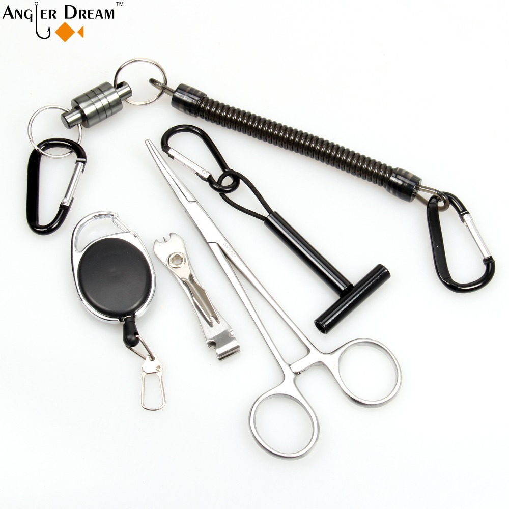 Fly Fishing Accessory Curved Forcep with Retractable Gear Nipper Lanyard Fishing Tippet Holder Net Release Holder with Lanyard