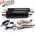 Motoo - Motorcycle Exhaust middle pipe Round Muffler with 2 piece exhaust for Kawasaki Z1000 10-15