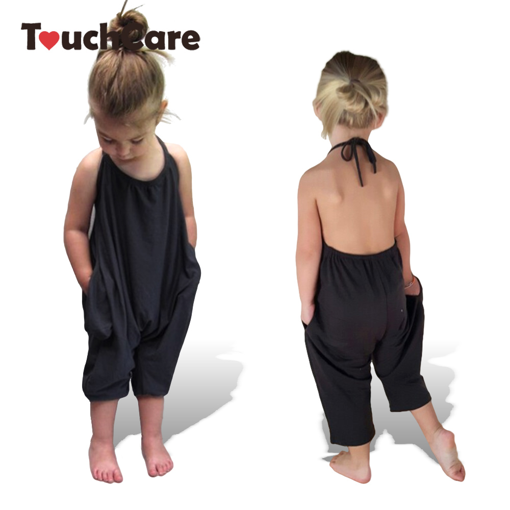 Clearance Solid Sleeveless Strap Cotton Baby Girl Romper Jumpsuit Harem Trousers Black Halter Pants Baby Girl Summer Clothes 2016 girls kids harem pants short trousers chiffon heart pattern jumpsuit sleeveless blue orange jumpsuit