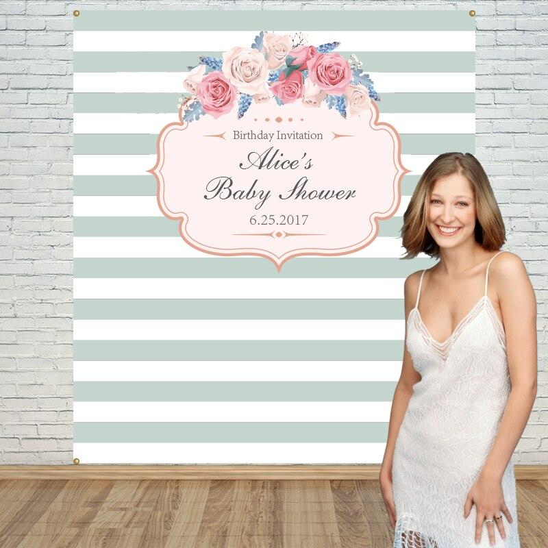 Allenjoy décors en vinyle pour la photographie fleur bleu blanc rayures anniversaire arrière-plans tissu envoyer des accessoires d'espace plié