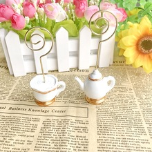 цена на FREE SHIPPING 200pcs/Lot Tea Time Whimsy Place Card Holder Perfect For Tea Party Table Decor  Wedding & Bridal Shower Favors