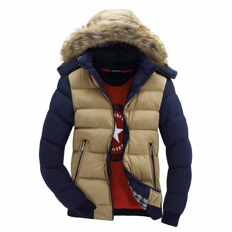 2017コントラストカラーフード付きデザイン男性パーカーサイズm-4xlカジュアル&フィット男性の冬のジャケットスタンド襟厚い男ジャケット