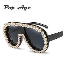 Pop Age Newest Luxury Oversized Diamond Sunglasses Women Fashion Square Big Frame Sun glasses Vintage Eyewear Lunettes de soleil