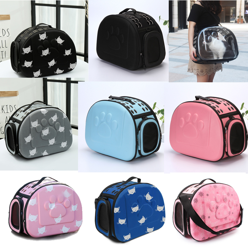 YUYU Cat Carrier Bag Utendørs Dog Carrier Bag Foldable EVA Pet Kennel Valp Dog Cat Outdoor Travel Skulderpose til liten hund