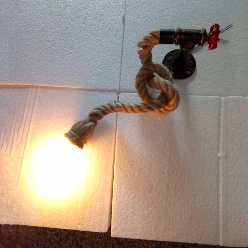 Ретро Лофт веревка водопровод настенный светильник свет лестничный коридор прохода Спальня Гостиная Ресторан Паб лампа для кафе Бра