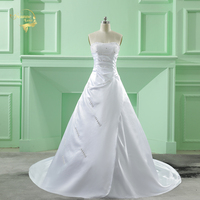 Cheap Price 2014 New Free Shipping Beading A Line Strapless With Train White Ivory Wedding Dresses