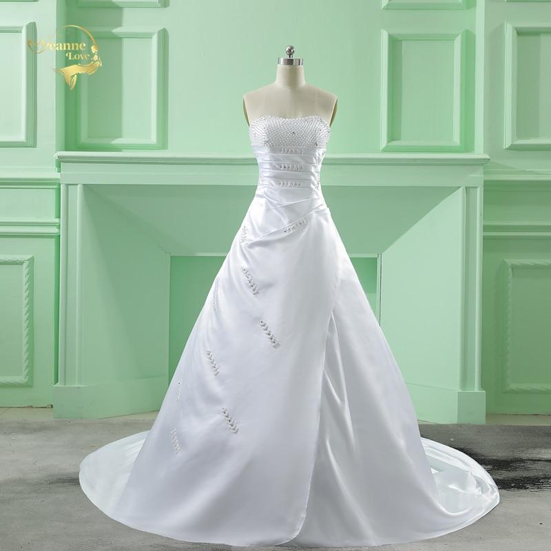 Partihandel Vestido De Noiva 2019 Klassisk Design Perfekt Casamento Pärla En Linje Stroplös Kavaj De Mariage Bröllopsklänningar OW 6642
