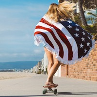 201751 women summer thick sand beach scarf printed American flag scarf Stars and Stripes silk feeling Scarves