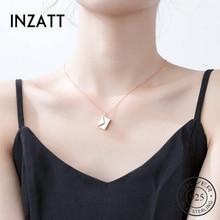 INZATT, настоящее 925 пробы, серебро, LOVE YOU, кулон конверт, ожерелье для модных женщин, хорошее ювелирное изделие, милые, аксессуары