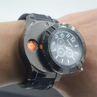 Multifunction Men Clock Wristwatches Windproof Flameless Cigarette Lighter Watch USB Charging Men S Quartz Watch Military
