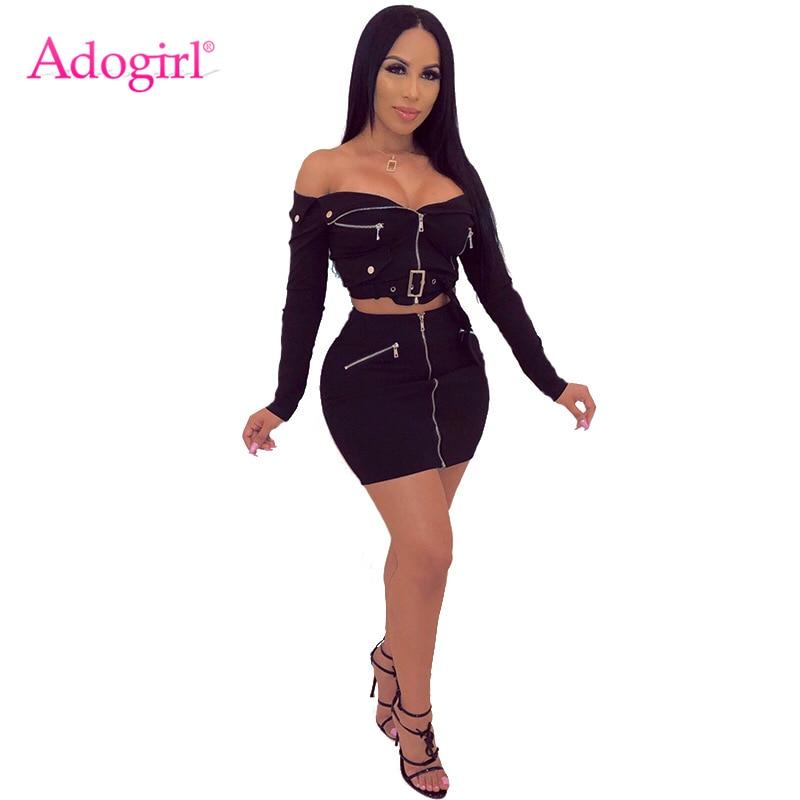 Adogirl Women Zipper Casual Two Piece Set Folded Slash Neck Off Shoulder Long Sleeve Crop Top With Belt + Bodycon Mini Skirt