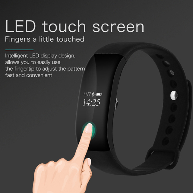 Black Silicone Waterproof Fitness Tracker