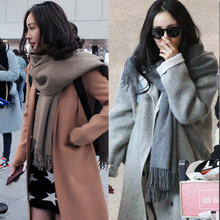 Autumn and winter with Korean female winter pure cashmere wool scarf knitting scarf lengthening thickening