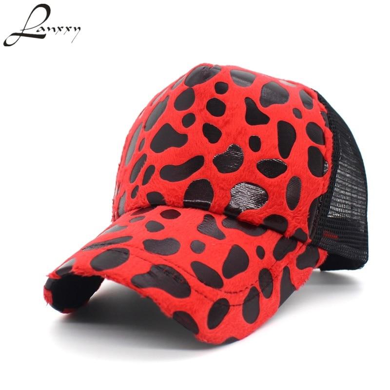 Lanxxy Leopard Caps Women Summer Sun Hats Mesh Baseball Cap Casquette Hip Hop Cap Hat Men Women