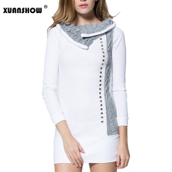 2018 Autumn Winter Women Bodycon Dresses Patchwork Long sleeves Turn-down Collar Wool Rivet Mini Casual Dress Vestidos 1