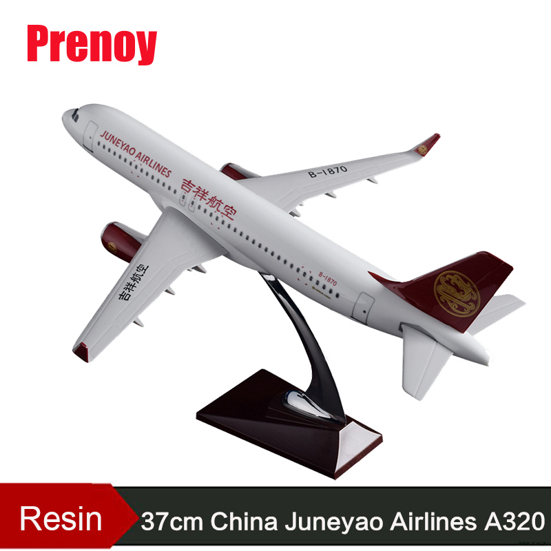 37cm Resin China Juneyao Airlines Plane Model A320 Aircraft Model Airbus Airplane Model Juneyao Airways Chinese Aviation Model phoenix 10948 china southern airlines b 2134 1 400 md 82 commercial jetliners plane model hobby