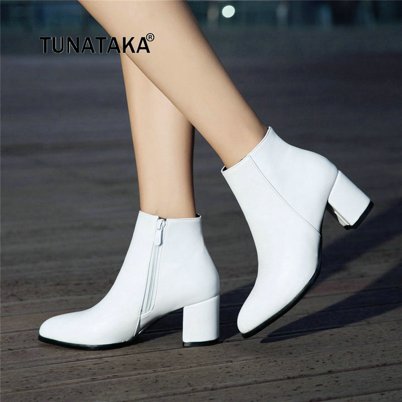 Women Thick High Heel Ankle Boots Winter Fashion Pointed Toe Side Zipper Shoes Woman Black White Yellow winter solid real leather ankle fashion dr boots pointed toe side zip cowhide plus velvet high heel boot women casual thick