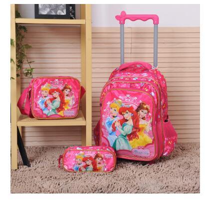 子供トロリーバッグ学校の子供のための学校のバックパック車輪ローリングのための旅行トロリー荷物バックパック  グループ上の スーツケース & バッグ からの スクールバッグ の中 1