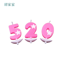 10 pcs/ pack 0-9 Number Party Happy Birthday Cake Candle Decoration Cute Child Hot Sale Creative Pink Star Supplies