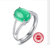 Green Nano Russian Emerald Ring For Women Genuine 925 Sterling Silver Fashion Adjuatable Ring