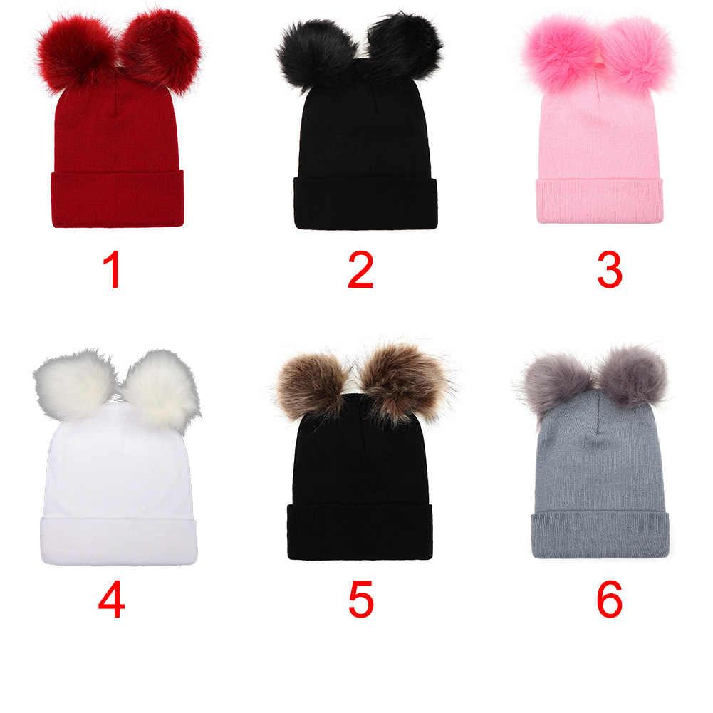 Женская шапка с помпоном для девочек, однотонные вязаные шапочки с двойным шариком, искусственный мех, теплая осенне-зимняя мягкая