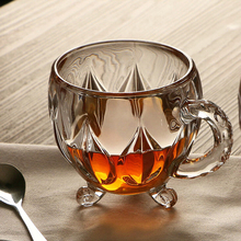 170 мл Хрустальная стеклянная чашка для чая, кофе, воды прозрачная чашка домашняя молочная Цветочная чайная стаканы для сока кружка с ручкой для подарков dd009