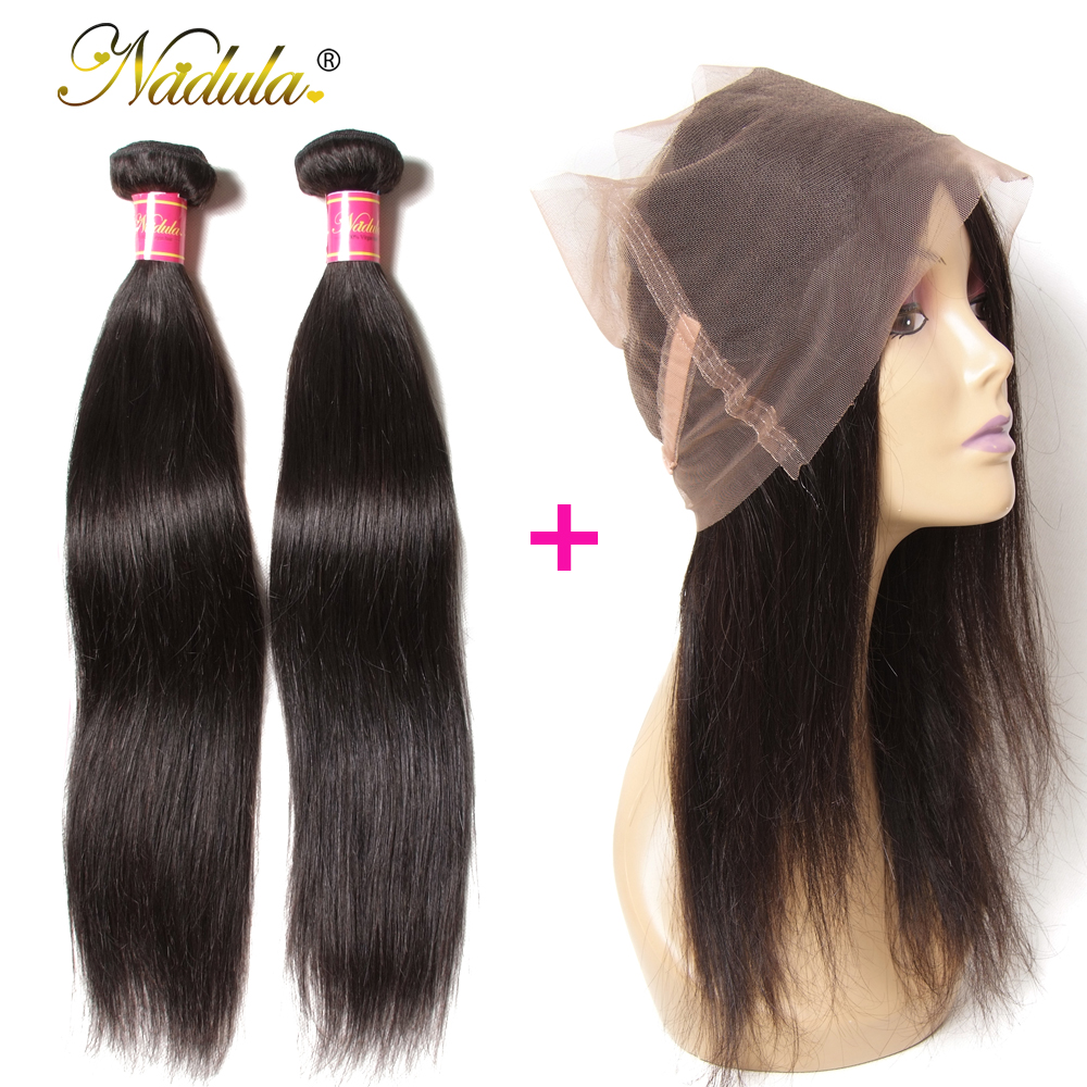 Nadula Hair 2Bundles Straight Hair With 1Pcs 360 Lace Frontal 100% Human Hair Weave Bundles With Closure Brazilian Remy Hair