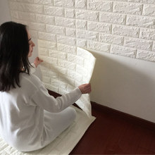 2.6Ft x 2.3Ft Peel and Stick 3D Wall Panels for TV Wall Sofa Background Wall Decor , White Brick Wallpaper